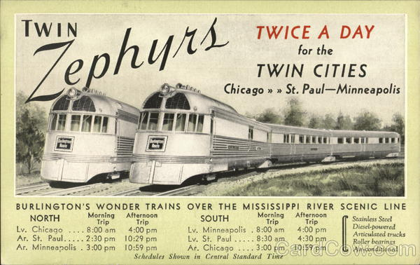 Twin Zephyrs Chicago->St. Paul-Minneapolis Trains, Railroad