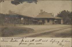 Railroad Station with Carriage & Horse