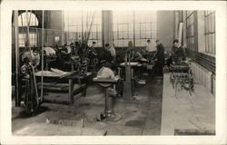Young men working in woodshop
