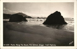 Rocks Along the Beach, Port Orford, Oregon Coast Highway Postcard