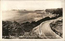 Coast Line, North Toward Port Orford, Oregon Coast Highway Postcard