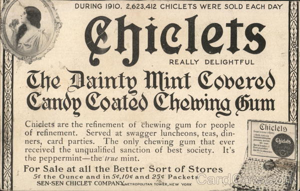 Rare - Early Chiclets Advertising New York