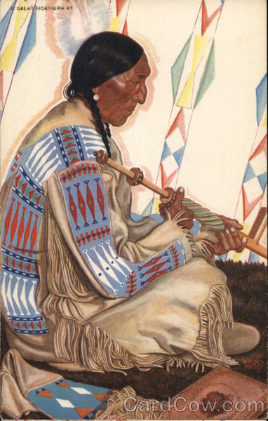 Sundance-Blackfeet Indian Chief - Great Northern Railway
