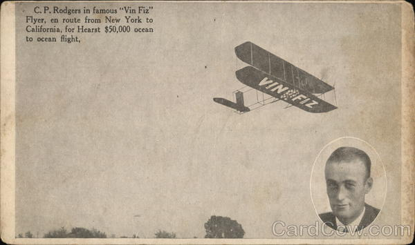 C.P. Rodgers in Famous Vin Fiz Flyer Advertising