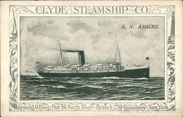 Clyde Steamship Co. S.S. Apache New York Advertising
