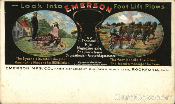Emerson Mfg. Co, Farm Implement Builders since 1852 Rockford Illinois
