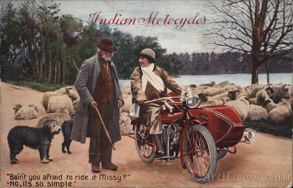 Indian Motorcycles Sidecar Woman Springfield Massachusetts