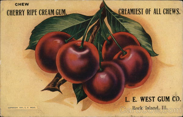 L.E. West Gum Company Rock Island Illinois Advertising
