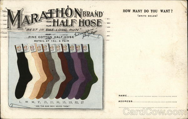 Marathon Brand Half Hose Socks New York Advertising