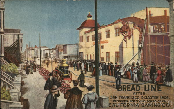 California Baking Co. Bread Line After Earthquake San Francisco