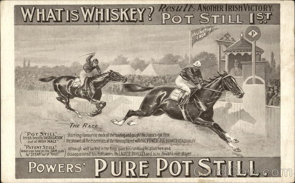 Powers' Pure Pot Still Advertising Horse Racing