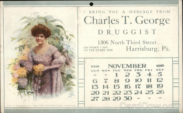 Charles T. George - Druggist - Calendar November 1910 Harrisburg Pennsylvania