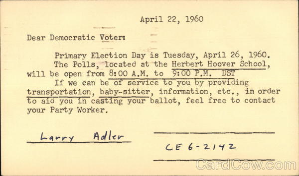 Democratic Party Election Reminder - 1960 Harrisburg Pennsylvania