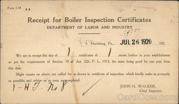 Receipt for Boiler Inspection Certificates - Department of Labor and Industry Harrisburg Pennsylvania