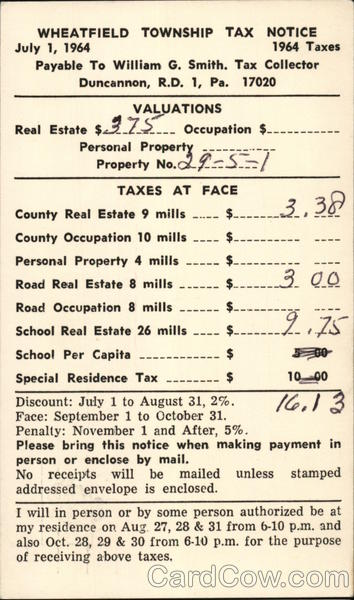 Wheatfield Township Tax Notice 1964 Taxes Duncannon Pennsylvania