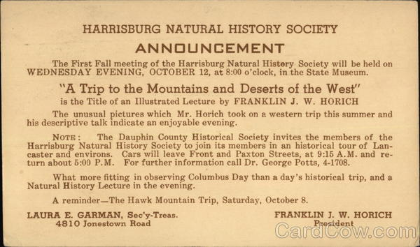Harrisburg Natural History Society Announcement Pennsylvania