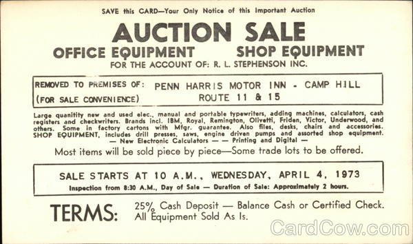 Auction Sale for the Account of R.L. Stephenson Inc. Camp Hill Pennsylvania