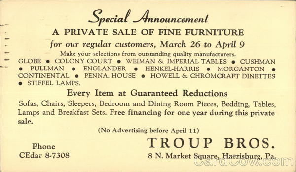 A Private Sale of Fine Furniture, Troup Bros. Harrisburg Pennsylvania