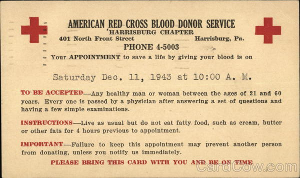 American Red Cross Blood Donor Service, Harrisburg Chapter Pennsylvania