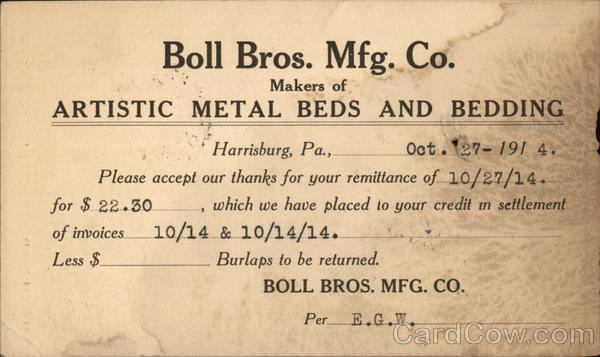 Boll Bros. Mfg. Co. Harrisburg Pennsylvania Advertising