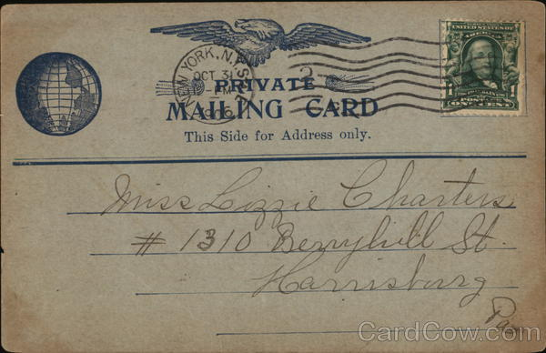 Private Mailing card - Post Tell-Gram New York Advertising