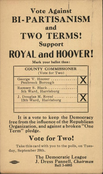 Vote Against Bi-Partisanism and Two Terms! Support Royal and Hoover!