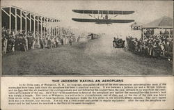 1910 Jackson Car racing a Wright Biplane