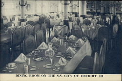 Dining Room on the S.S. City of Detroit III Postcard