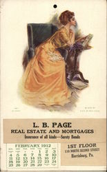 L.B. Page Real Estate and Mortgages February 1912 Calendar