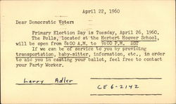 Democratic Party Election Reminder - 1960