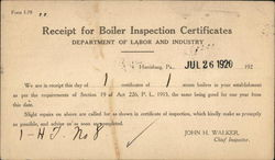 Receipt for Boiler Inspection Certificates - Department of Labor and Industry