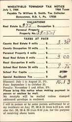 Wheatfield Township Tax Notice 1964 Taxes