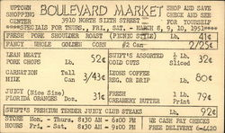 Boulevard Market 3910 North 6th. Street - Specials for Mar. 8 - 10 1951