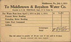 Middletown & Royalton Water Co. Postcard