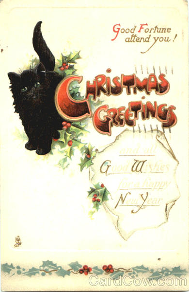 Christmas Greetings Black Cat With Cats
