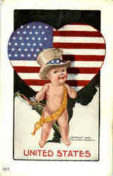 United States Baby National Cupid Series Postcard