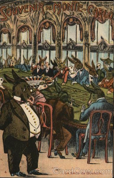 Donkeys dressed up gambling La salle de Roulette Monte Carlo Monaco