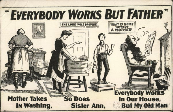 Everybody works but father women doing chores while the man smokes and reads the paper