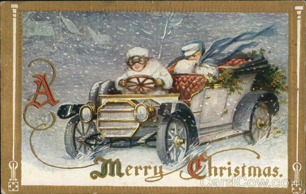 A Merry Christmas - woman driving a roadster