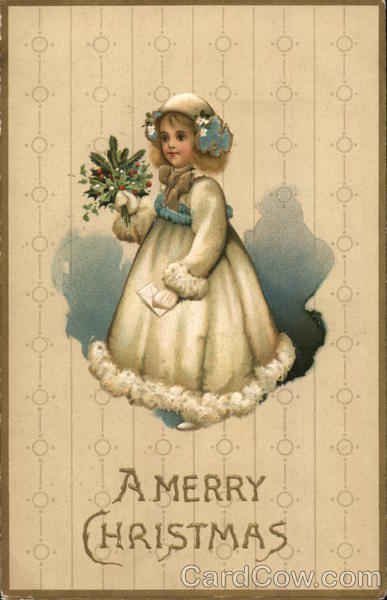 A Merry Christmas - Girl holding mistletoe Children