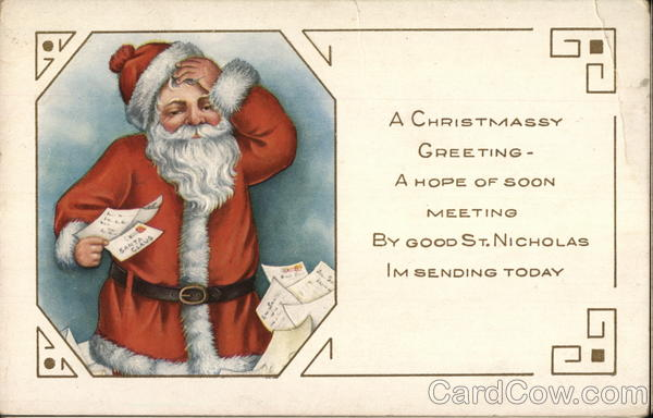 A Christmassy Greeting - Santa with letters Santa Claus