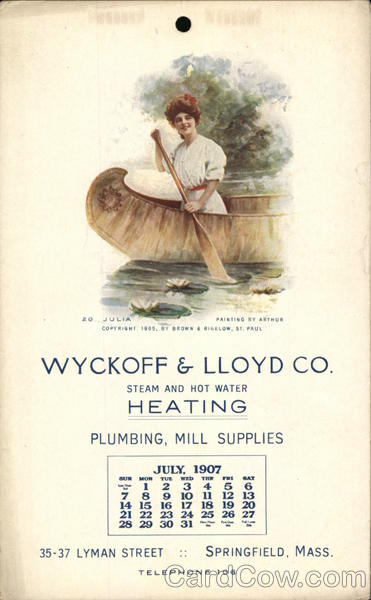 Wyckoff & Lloyd Co. Calendar - July 1907 Advertising