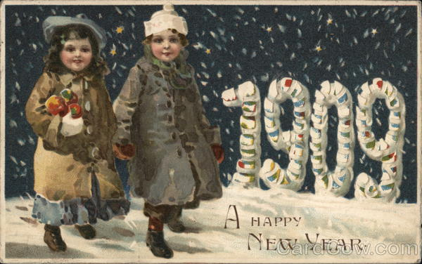 1909 A Happy New Year Children Hold To Light