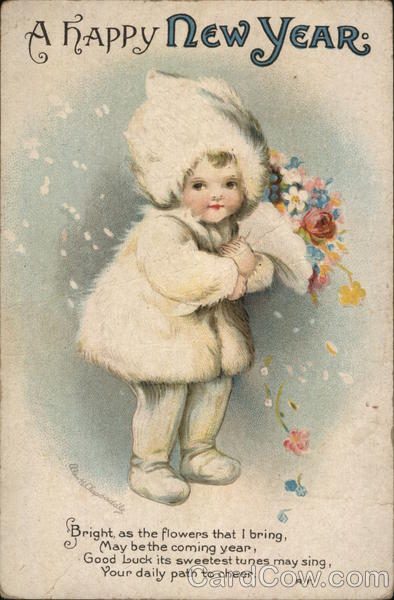 A Happy New Year- child with flowers Ellen Clapsaddle
