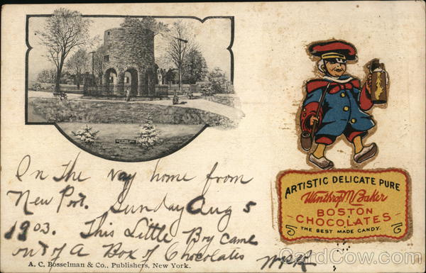 Boston Chocolates - Souvenir Mailing Card 1903 Advertising