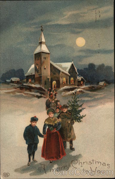 A Merry Christmas to You - Family in front of a church carrying a tree
