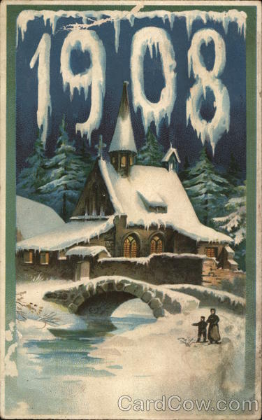1908 - house across a river with snow everywhere Year Dates