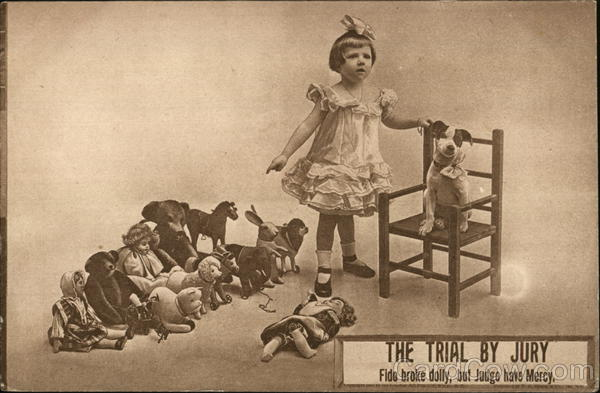 The trial by jry Fido broke dolly, but judge have mercy - girl with dog, broken doll, and dolls