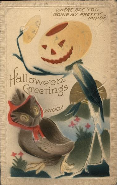 Halloween Greetings - Jack O Lantern greeting a hooting bonnetted owl