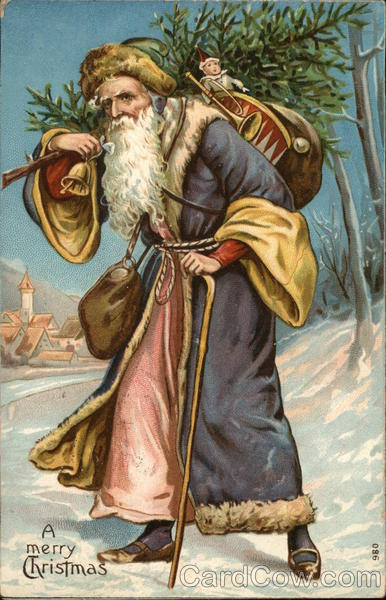 A Merry Christmas - Santa carrying a tree through the snow
